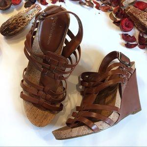 BCBG strappy wedge tan heels